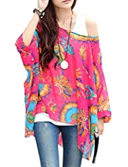 Sexy Bohemian Hippie Batwing Sleeve Chiffon Blouse Loose Off Shoulder Shirt Top One Size Color-17