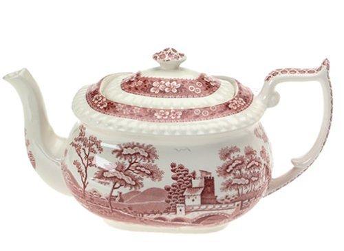 Spode Tower Pink Tea Pot and -