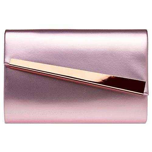 Asymmetrical Holiday Classic Ta428 Handbag Flap Womens With Caspar Pink Clutch q8FAwC