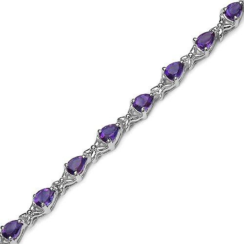 La Collection de Bracelet l'Améthyste : le Bracelet en Argent des dames 24 l'Améthyste de Forme de Poire et de Bracelet de kiss avec 3.36 carats d'Améthyste Authentique.