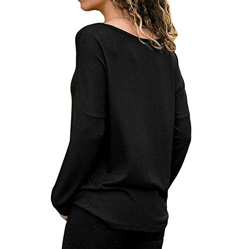 Rond T AMUSTER Veste col Sport Couleur Shirt Vtements Longues de dcontracts de Noir Unie Manches Femmes pour et Ydd0w