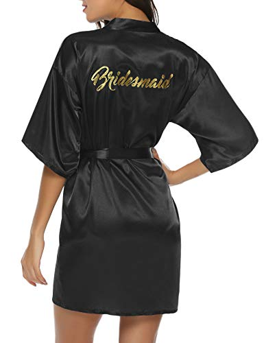- Hawiton Women's Satin Silk Bride & Bridesmaid Robe Gold Glitter Wedding Party Kimono Robes (Bridesmaid-Black, Small)