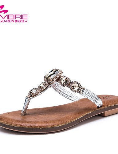 Women's Flip Casual ShangYi Silver Heel Leatherette golden Flat MeiRie'S Sandals Flops Faux Shoes Gold Pink Leather axHS5qA