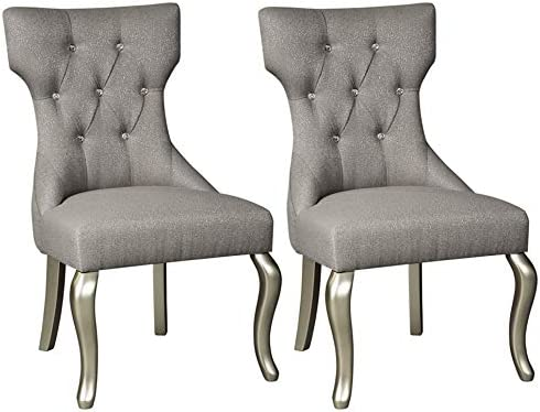 Amazon Com Signature Design By Ashley Coralayne Dining Upholstered Side Chair Set Of 2 Traditional Style Silver Finish Furniture Decor