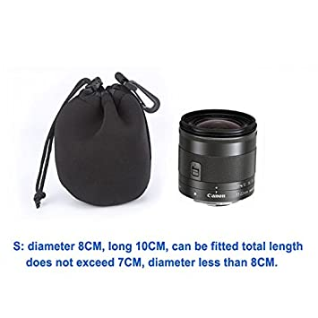 Enterest Lens Pouch for DSLR Camera Lens Color in Black Neoprene Material Shockproof Thermal Insulation Elastic Waterproof Soft Easy to Carry for Travel M