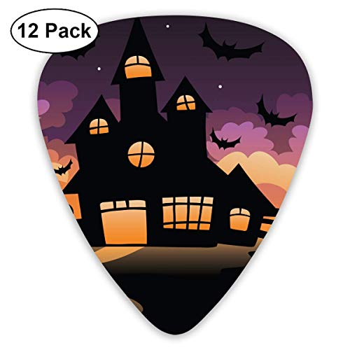 Hallome Halloween All Hallows' Eve All Saints' Eve Castle Guitar Pick 0.46mm 0.73mm 0.96mm 12pack,Suitable for All Kinds of -