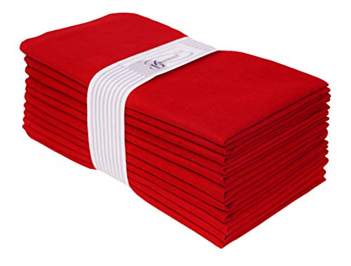 Dinner Napkins-Flax Cotton Fabric-19x19 Red ,Wedding Napkins,cotton Flax napkins,Cocktail Napkins,Cloth Napkins,Fabric Napkins,Cloth Napkins Set of 12,Dyed Cloth Napkins,Soft Napkins,Machine Washable (Red Cotton Napkins)