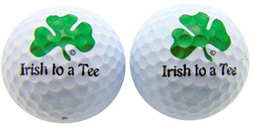 Irishティーにシャムロックのセット2ノベルティゴルフボールFun GolfingギャグのギフトGolfer   B017QJ3O7I
