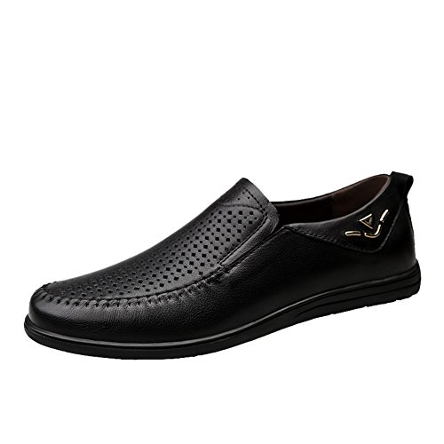 XUEXUE Men's Shoes Leather Spring Summer Driving Shoes Comfort Loafers & Slip-Ons Walking Shoes Breathable Hollow-Out Office & Career Formal Business Work (Color : B, Size : 43) by XUEXUE
