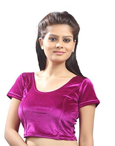 Magenta Velvet Chic Ready-made Saree Blouse Sari Choli - A-9 - Large
