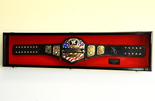 (WWE WWF WRESTLING CHAMPIONSHIP ADULT SIZE BELT DISPLAY CASE FRAME CABINET BOX 54