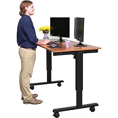 60″ Electric Stand Up Desk (Black Frame / Teak Top)