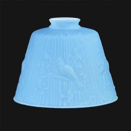 Antique style Bridge Arm Cased Satin Blue Glass Parrot Bridge Arm floor lamp Shade & Boudoir -