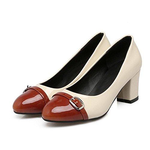 COOLCEPT Zapato Mujer Western Tacon Ancho medio Sin Cordones Mixed Colors Court Zapatos With Hebilla Marron