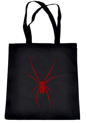 Red Deadly Black Widow Spider Tote Bag Occult Alternative Clothing Book Bag Halloween Horror ()