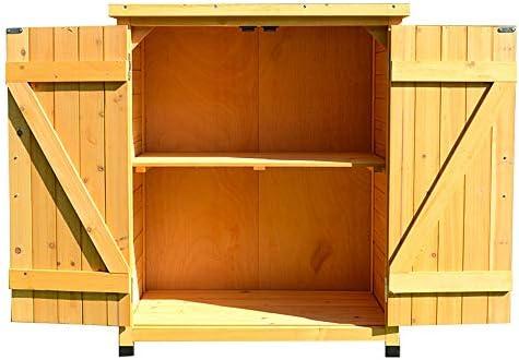 35in jardín al aire libre cobertizo de almacenamiento de madera Armario de almacenamiento para misceláneas, caja de herramientas 2-capa de Hogares armario de almacenamiento patio patio: Amazon.es: Jardín