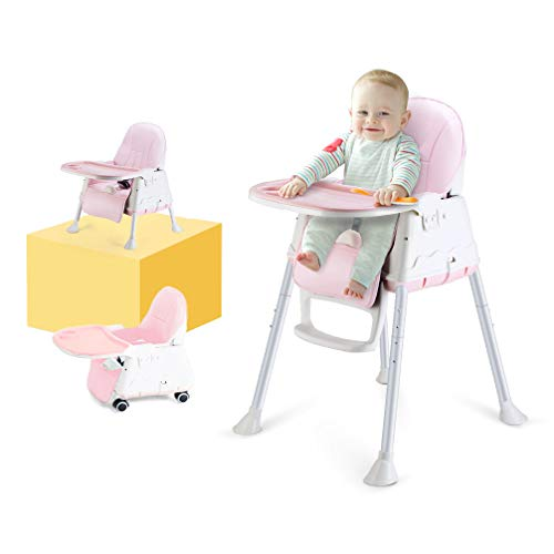 Seat Car Booster Reclining (High Chair, LYASI 3-in-1 Portable Highchair,Toddler Booster Seat,Baby Feeding Chair with Tray, Wheel & Cushion (Pink))