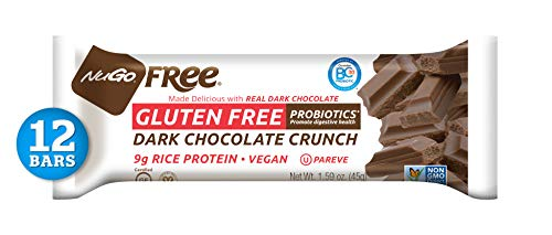 NuGo Free Dark Chocolate Crunch, 9g Vegan Protein, Probiotics, Gluten Free, Soy Free, 170 Calories, 12 Count (Chocolates Fat Free)