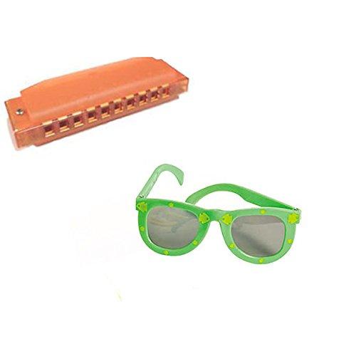 VBS Island Theme -Music 4 Pack W/Orange Harmonicas & Kids' Fish Print Green Sunglasses