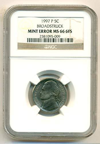 1997 P Jefferson Broadstruck Error Nickel MS66 6FS NGC (Mint Nickel Jefferson Ngc)