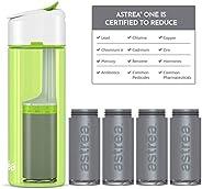 astrea ONE Premium Filtering Water Bottle, BPA-Free Plastic, 23 Oz, Gift Pack, Green