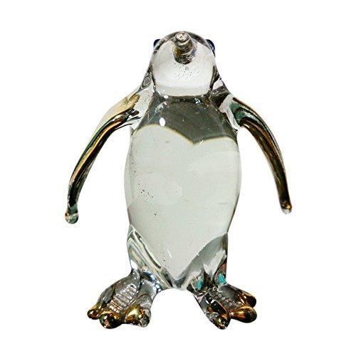 Sansukjai Penguin Figurines Bird Animals Hand Blown Glass Art Gold Trim Collectible Gift Decorate