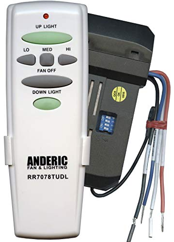 Anderic Replacement Universal Remote Control Conversion Kit with Dimming for Fan with Up and Down Lights - Includes Anderic RR7078TUDL and UC7067GMRX Receiver from Anderic