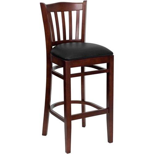 ULES Series Vertical Slat Back Mahogany Wood Restaurant Barstool - Black Vinyl Seat ()