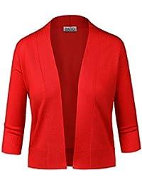 Women Classic 3/4 Sleeve Crop Cardigan