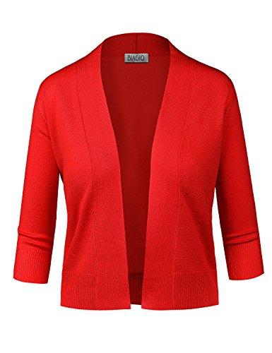 BIADANI Women Classic 3/4 Sleeve Crop Cardigan Red Large ()