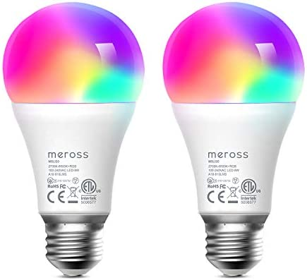 meross Smart Wi-Fi LED Bulb, Multiple Colors, 2700K-6500K RGB, 810 Lumens 60W Equivalent, Works with Alexa, Google Assistant and SmartThings, E26 Light Bulb, No Hub Required – Upgrade Versions 2 Pack