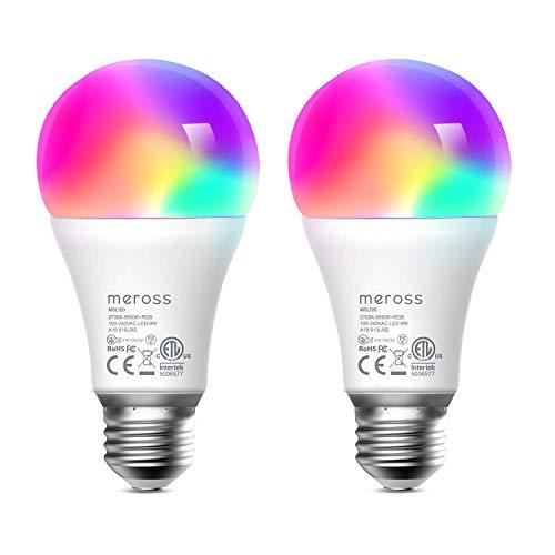 Smart Light Bulb 2 Pack – meross Smart WiFi LED Bulbs Works with Alexa, Google Home, Dimmable E26 Multicolor 2700K-6500K…