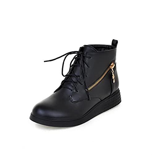 Women's Soft Material Round Closed Toe Solid Low Top Low Heels Boots With Bandage