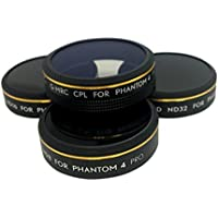 4Pack Multicoated Filter for DJI Phantom 4 Pro/4A,CPL+ND8+ND16+ND32 Filter,Light Weight,HD Neutral Density, Circular Polarizer Lens Filter,Light Weight,Screw in Installation