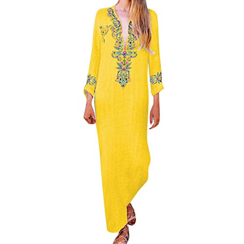 (Masun Women's Maxi Dresses Sexy Deep V-Neck Long Sleeve Vintage Bohemian Embroidery Print Beach Casual Long Dress Yellow )