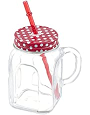 Pasabahce Mug 45 cl with Straw Lid Red