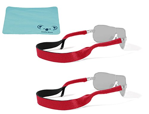 Croakies Original Neoprene Eyewear Retainer Sunglass Strap Band | Eyeglass & Sports Glasses Holder Keeper Lanyard | 2pk Bundle + Cloth, - Sunglasses Red Band