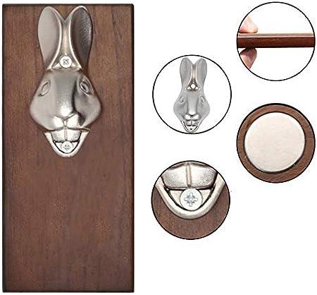HSD Abrebotellas de hierro con cabeza de conejo para montar en la pared, para decoración del hogar, 20 x 8 x 1,5 cm