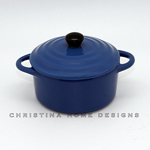 Creative Co-op 5 inch Round Stoneware Mini Baker with Lid (Dark (Blue Round Baker)