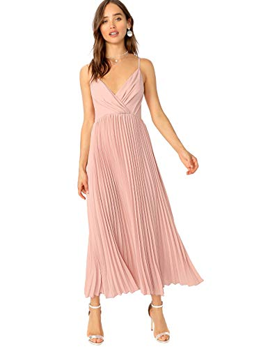 Verdusa Women's Surplice Neck Pleated Cami Dress Pink ()