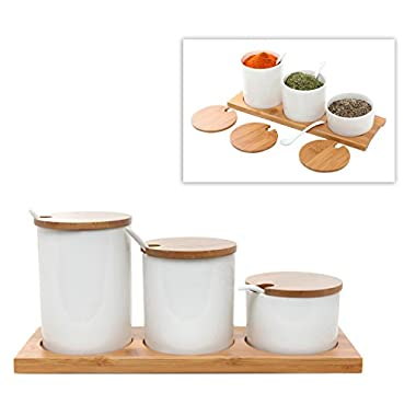 Deluxe Modern Kitchen Set of 3 White Ceramic Condiment Serving Pots / Spice Jars with Lids, Spoons and Bamboo Tray