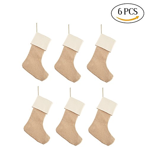 DECORA Natural Jute Burlap Christmas Stocking for Gifts & Goodies Handmade Projects Set of 6 (Burlap Stockings Christmas)