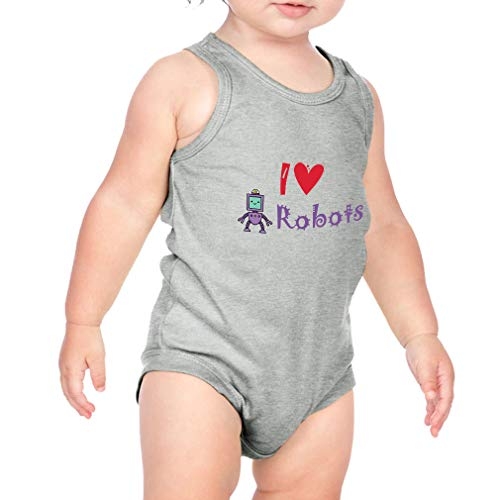 Cute Rascals I (Heart) Robots Cotton Tank Scoop Neck Boys-Girls Infant Bodysuit One Piece - Heather Gray, 12 Months ()