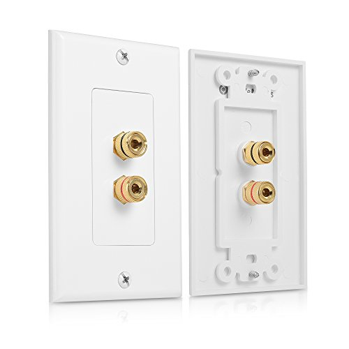 Cable Matters 2-Pack Speaker Wire Wall Plate (Speaker Wall Plate, Banana Plug Wall Plate) for 1 Speaker in White