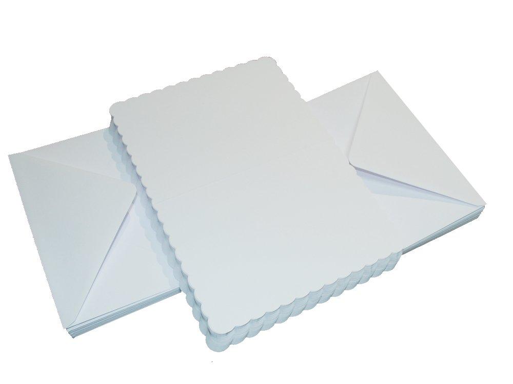 121 x 182 x 0.64 cm Crafts UK Cartoncino Ivory 50/Biglietti e Buste smerlati Dimensioni: 12,7 x 12,7 cm Colore: Bianco