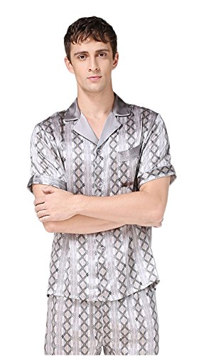 Men's 100% Silk Nightgown Nightshirt Pyjama Trousers Grey L by Colorful Silk