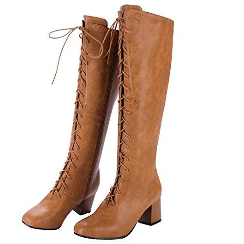 AIYOUMEI Damen Lace Up Kniehohe Stiefel mit 6cm Absatz und Schnürung Winter Reißverschluss Langschaft Stiefel Braun