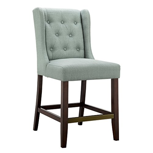 Madison Park Cleo Bar Stools - Hardwood, Birch, Faux Linen Kitchen Stool - Seafoam Blue, Modern Classic Style Bar Height Stools - 1 Piece Button Tufted Bar Furniture For Home ()