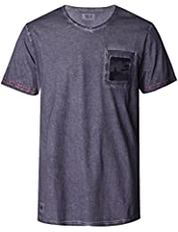 Homme Men's Vintage Washed T shirt with Front Pocket