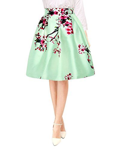 Allegra K Woman Floral Prints High Waist Pleated A Line Midi Skirt Green ()